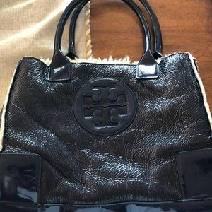 Tory Burch Navy Blue shearling lined purse